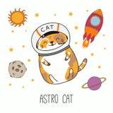 Gato lindo del astronauta libre illustration