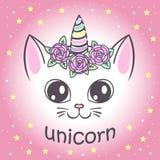 Gato lindo del unicornio ilustración del vector