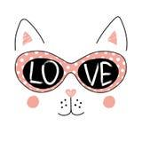 Gato lindo en cartel de los vidrios Foto de archivo libre de regalías