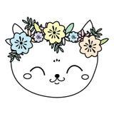 Gato lindo en guirnalda de la flor Cara dulce del gatito, humor del verano ilustración del vector