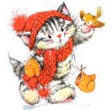 Gato lindo Gato de la acuarela y fondo divertidos de la Navidad Fotografía de archivo