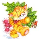 Gato lindo Gato de la acuarela y fondo divertidos de la Navidad Foto de archivo