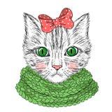 Gato lindo hermoso dibujado mano de la muchacha Fotografía de archivo