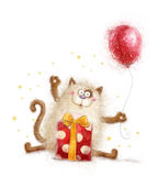 Gato lindo Invitación del cumpleaños Fiesta de cumpleaños Gato con el regalo y el globo Gato dibujado mano aislado en el fondo bl Fotos de archivo