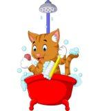 Gato lindo que baña tiempo ilustración del vector
