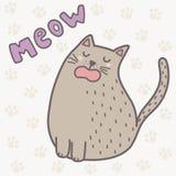 Gato lindo que dice la impresión del maullido Tarjeta divertida para los niños libre illustration