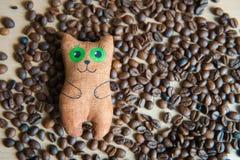 Gato lindo que se sienta en el centro de los granos de café Imagen de archivo libre de regalías