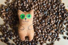 Gato lindo que se sienta en el centro de los granos de café Fotografía de archivo libre de regalías