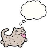 Gato louco dos desenhos animados com bolha do pensamento Fotografia de Stock