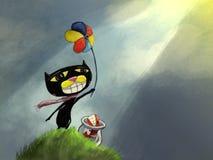 Gato lunático com moinho de vento da mão Imagens de Stock Royalty Free