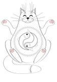 Gato meditating ilustración del vector