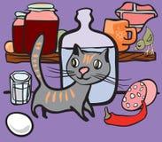 Gato na despensa dos mantimentos Ilustração do Vetor