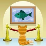 Gato na galeria ilustração royalty free