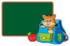 Gato na imagem 2 do tema do schoolbag Fotos de Stock