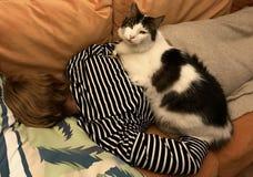 Gato na mulher de sono fotografia de stock