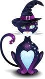Gato negro con el sombrero Foto de archivo libre de regalías