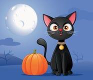 Gato negro con la historieta del vector de la calabaza de Halloween imagen de archivo libre de regalías