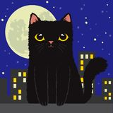 Gato negro de la historieta en la ciudad libre illustration