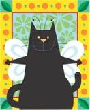 Gato negro del ángel Foto de archivo