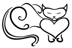 Gato negro derecho Fotografía de archivo libre de regalías