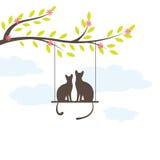 Gato negro dos en el oscilación. Vector Illuatration Imagenes de archivo