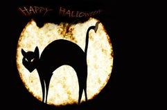 Gato negro en el fondo de la luna mordida Imagen de archivo