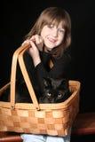Gato negro en una cesta Fotos de archivo