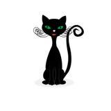 Gato negro feliz Fotografía de archivo