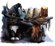 Gato negro mágico stock de ilustración