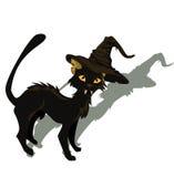 Gato negro para el diseño de Víspera de Todos los Santos Fotos de archivo