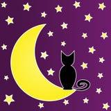 Gato negro que se sienta en la luna rodeada por las estrellas Caricatura Imagen de archivo