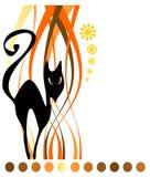 Gato negro y tiras Imagen de archivo
