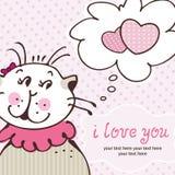 Gato no amor no cartão cor-de-rosa Fotografia de Stock