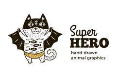 Gato no caráter do traje do super-herói no fundo branco ilustração do vetor