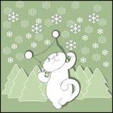 Gato no chapéu com abeto e flocos de neve Imagens de Stock Royalty Free