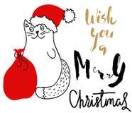 Gato no chapéu do Natal com um saco vermelho Rotulação do feriado Imagens de Stock Royalty Free