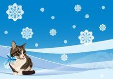 gato no fundo do inverno ilustração royalty free