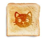 Gato no pão brindado Imagem de Stock Royalty Free