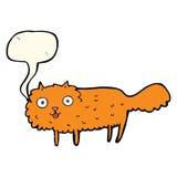 gato peludo de la historieta con la burbuja del discurso Foto de archivo