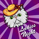 Gato persa no chapéu Largo-brimmed Retrato do gato branco Vetor ilustração stock