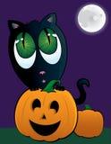 Gato preto adorável com Jack O'Lantern e uma Lua cheia Imagem de Stock Royalty Free