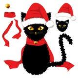 Gato preto com olhos amarelos Santa Hat, lenço vermelho da fita e Jingle Bell Ball dourado Dia de Natal Ilustração do vetor Fotos de Stock