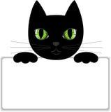 Gato preto com um cartão Foto de Stock Royalty Free