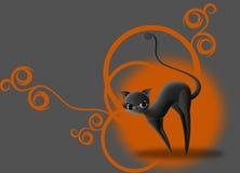 Gato preto de Dia das Bruxas Foto de Stock Royalty Free