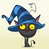 Gato preto de Dia das Bruxas dos desenhos animados no chapéu da bruxa Ilustração do vetor Imagens de Stock Royalty Free