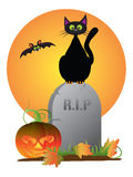 Gato preto de Dia das Bruxas na ilustração do vetor da lápide Imagens de Stock