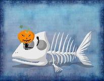 Gato preto do cartão de Dia das Bruxas no esqueleto dos peixes Fotografia de Stock Royalty Free