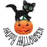 Gato preto e abóbora para Dia das Bruxas com um ` feliz de Dia das Bruxas do ` da inscrição Imagem de Stock