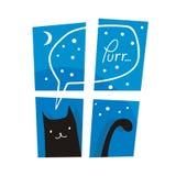 Gato preto ereto Foto de Stock Royalty Free
