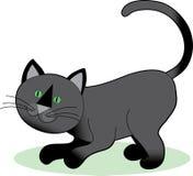 Gato preto que agacha-se Imagem de Stock